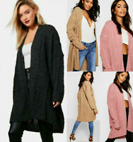 Ladies Women Oversize Baggy Chunky Cable Knitted Pocket Long Cape Cardigan