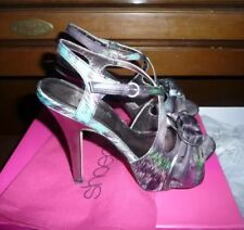 BEAUTIFUL! Shoedazzle 7.5 Easter Spring High Heels Silver Colorful Peep Toe