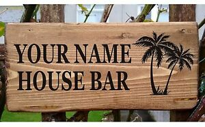 Personalised Beach Sign Palm Tree Bar House Door Coconut Name Plaque BBQ Garden