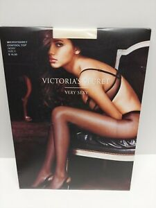 Victorias Secret Very Sexy Micro Fishnet Control Top Pantyhose Ivory Size C