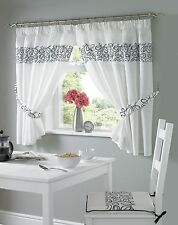 Urban Embroidered Kitchen Curtains, 5 Sizes Free Tie-backs ,3 Colours