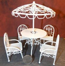 Dollhouse Miniature Patio Table Set White Metal 1:12 scale D80 Dollys Gallery