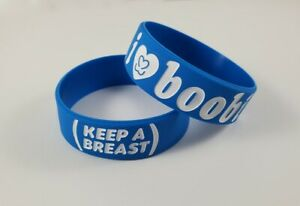 I Love Boobies Bracelet Blue Breast Cancer Awareness I Heart Boobies Wrist Band
