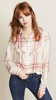Frame Ruffle Bib Button Down Ivory Plaid Long Sleeve Top Women's Size Large