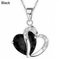 Plata y Cristal Gruesa Collar de Corazón en Negro ** ** regalo de boda de vendedor de Reino Unido