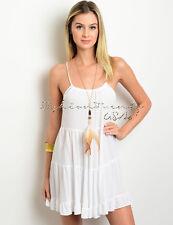Ivory BOHO TIERED Loose Sun DRESS Cover Up Babydoll Gauze Beach Backless Tunic S