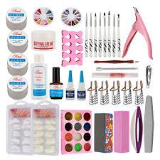 Nail Art Diy Kit Buffing Cream Uv Gel False Nail Tips Top Coat Glue Tool Kits
