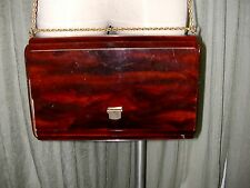 VTG CELLULOID LUCITE PLASTIC ACCORDIAN HAND BAG PURSE BROWN FAUX TORTOUISE SHELL