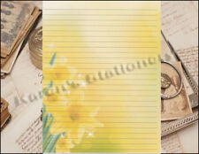 Yellow Flower Lined Stationery Set 25 sheets & 10 envelopes 8.5 X 11
