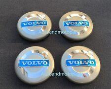 4PCS VOLVO GRAY WHEEL CENTER CAPS HUB COVER BLUE LOGO RIMS 3546923