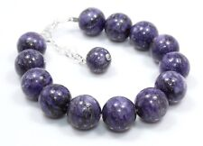"Natural Rare Sugilite Bracelet 925 Sterling Silver 12 MM 7.5""+1 Birthday Gift 6"