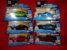 Jada Fast and Furious1:32 leddys srt8,ford gt, nissan gtr 3 dodge chargers 6 car