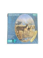 NWT & Sealed Deer Hunter OUR SIDE OF THE RIVER   750 Piece  OVAL Jigsaw Puzzle