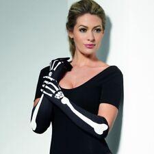 Ladies Halloween Fancy Dress Long Skeleton Gloves Black with Bones by Smiffys