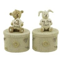 Button Corner Christening Gift Set - Trinket Box - My First Tooth and Curl NEW