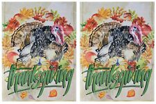 """Thanksgiving (Turkey) 12.5""""x18"""" Double Sided Polyester Sleeve Garden Flag"""