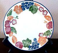 Pier 1 England Angleterre Chianti Salad Plates x1 Fruit & Flowers Blue Trim