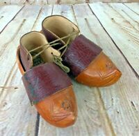 Vtg galoches & Sabots Ornate Hand Carved Wooden leather & wood dutch clogs