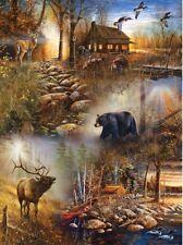 Forest Collage Wildlife Nature Art-Jim Hansel Sunsout Puzzle 1000 pc 54672