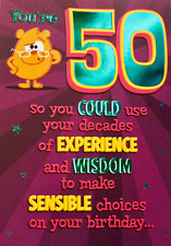 You're 50 Birthday greetings comedy card & envelope, suitable for male or female