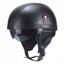 Universal M/L/XL Harley Motorcycle Motorbike PU Leather Helmet Open Face Vintage