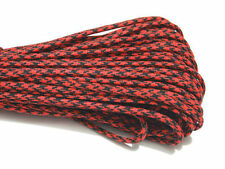100FT Multi III Stand 7 Cores 550 Paracord Parachute Cord Lanyard #75 RED+BK