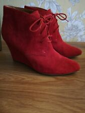 Ladies Red Suede, Wedge Heel Ankle Boots Size 7 (40)