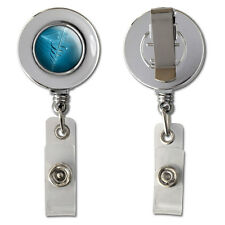 Medical Caduceus Symbol - EMT RN MD Retractable Reel Chrome Badge ID Card Holder