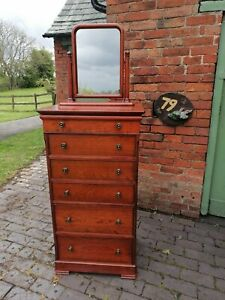 Tall 'Marks & Spencer' Cherry Wood Chest of Six Drawers with Freestanding Mirror