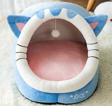 Cat Shape Pet Dog Cat House Bed Tent Kennel Cushion Mat Removable Indoor +ball