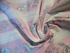 "1970's COTTON CHINTZ~ROSE PRINT STRIPES~PINK/BLUE/WT~18""x44""~DOLL~POLISHED SHEEN"