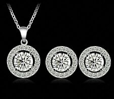 Wedding Jewellery Set Bridal Jewelry Crystal CZ Bride Necklace and Earrings NEW