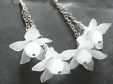 Vintage Deco Style Mexican Opal, Lucite Flower Silver Long Earrings Prom Bridal