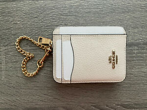 NWT COACH Zip ID Card Case Leather Mini Coin Wallet with Chain  Chalk Gold