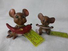 2 Vtg Josef Originals/Mouse Village Collectible Ceramic Mice W/Tags & Labels