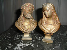 TWO FRENCH ANTIQUE REGULE BUSTS JESUS CHRIST VIRGIN MARY FIGURE STATUE