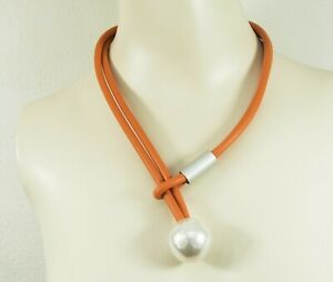 Lagenlook Short Loop Orange Necklace with large faux Pearl from Timeless Season