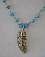 Fossil Necklace Blue Bayou Turquoise Beads FEATHER Necklace NWT