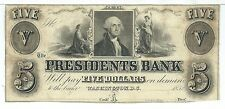 District of Colombia Washington Presidents Bank $5 1852 Bare Breast Maid Train