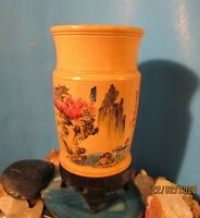 Vtg Asian Hand Carved Wooden Candle Holder Footed Signed Painted 6.5 Inches High