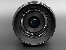 Olympus M.Zuiko Digital 17mm F/1.8 Wide Angle Lens - Black with hood & UV filter