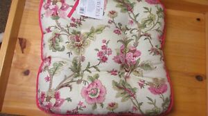 Waverly Imperial Dress Rose Floral Plaid Chair Pads Cushion Seat Pillows Pink Gr