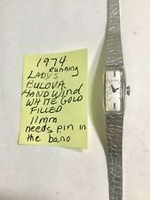 1974 Ladys Bulova White Gold Filled Hand Wind Wristwatch Running