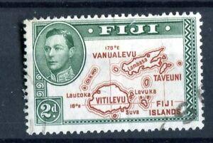Fiji KGVI 1938-55 2d brown & green 'value scratch' Die I p13.5 SG253b used