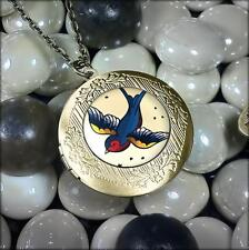 Traditional Swallow Sparrow Tattoo Flash Bird Glass Bronze Locket Necklace