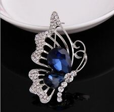 SILVER TONE ROYAL BLUE BUTTERFLY WITH DIAMANTE RHINESTONE CRYSTALS BROOCH PIN