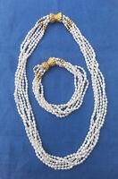 Mothers Gift Vintage Jewellery Pearls Freshwater Six Strands Necklace Bracelet