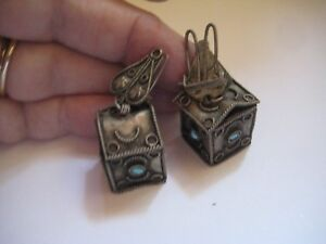ANTIQUE VICTORIAN ETRUSCAN DANGLE EARRINGS HOUSE SHAPED TURQUOISE