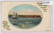 B2338cgt Greetings Thoughts of You Still Linger Tall Ship pu1910 vintag postcard