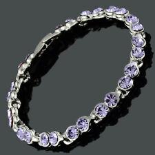 Women Crystal Purple Amethyst Tennis Bracelet(Extended Clasp)